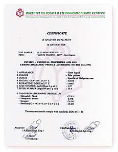 Rose oil                                                 certificate